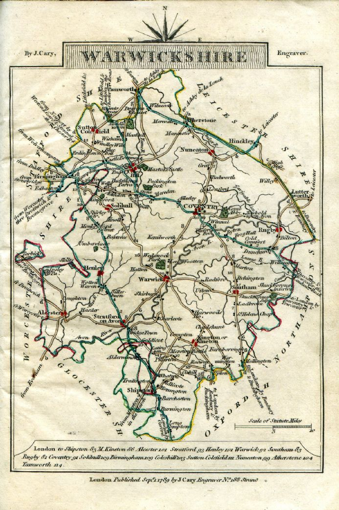 Warwickshire County Map by John Cary 1790 - Reproduction
